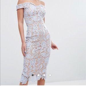 Lace off the shoulders pencil midi dress